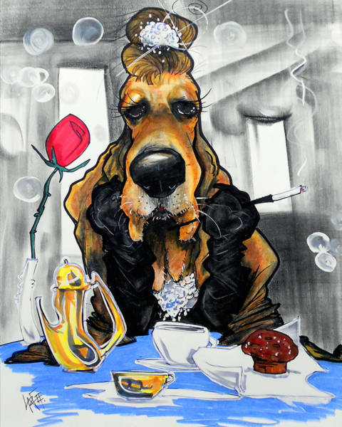 Breakfast At Tiffany's Basset Hound Caricature Art Print Poster
