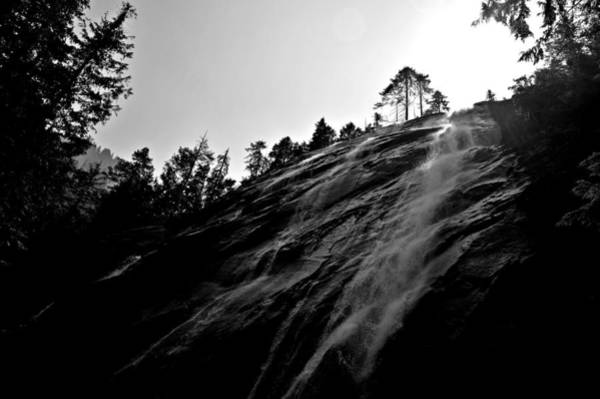 Bridal Veil Falls In Black And White Poster
