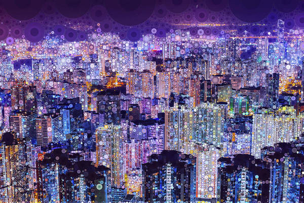 Poster featuring the mixed media Bright Lights, Big City by Susan Maxwell Schmidt