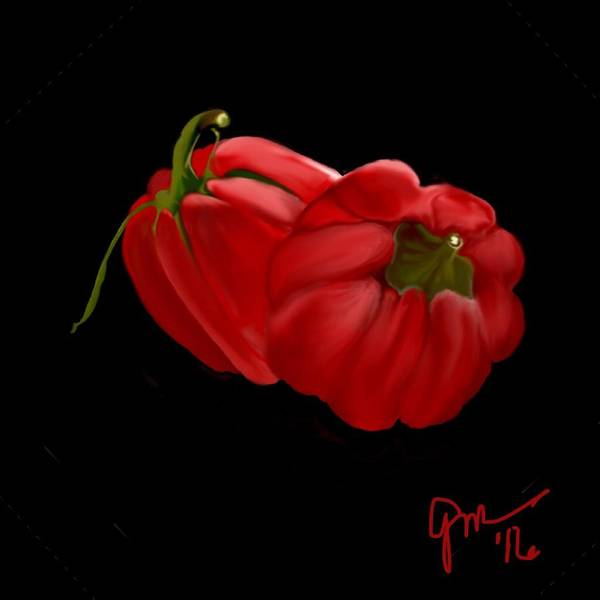 Bright Red Peppers Poster