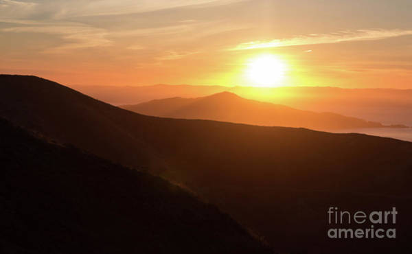 Bright Sun Rising Over The Mountains Poster