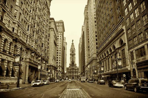 Broad Street Facing Philadelphia City Hall In Sepia Poster