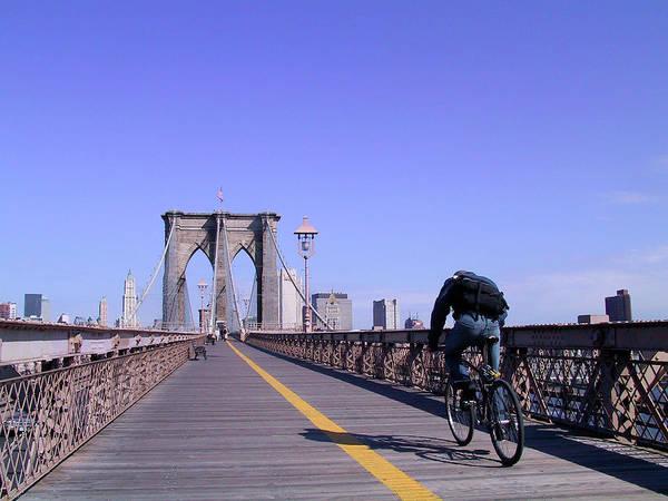 Brooklyn Bridge Bicyclist Poster