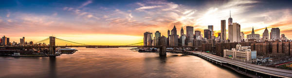 Poster featuring the photograph Brooklyn Bridge Panorama by Mihai Andritoiu