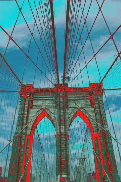 Brooklyn Bridge Red Shadows Poster