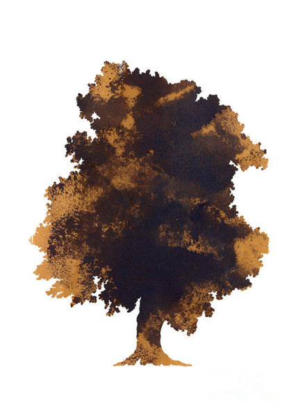 Brown Oak Minimalist Painting Poster