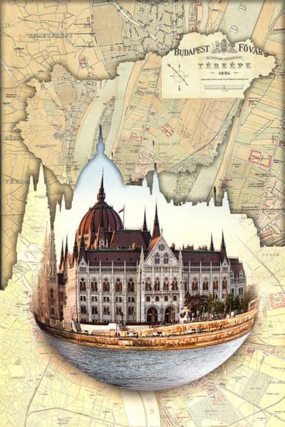 Budapest Globe Map Poster