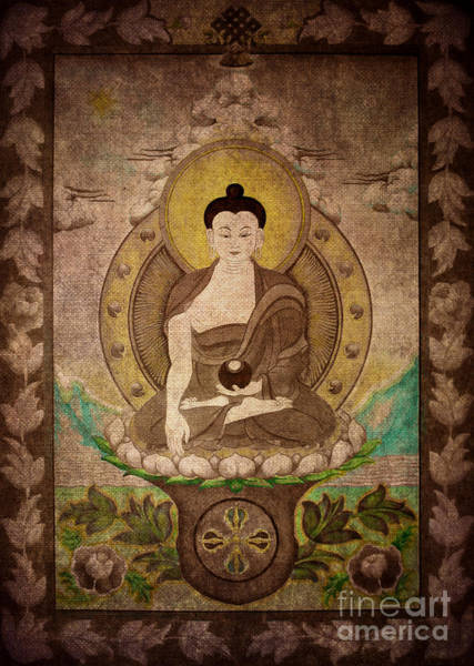 Buddha Thangka Silver Poster