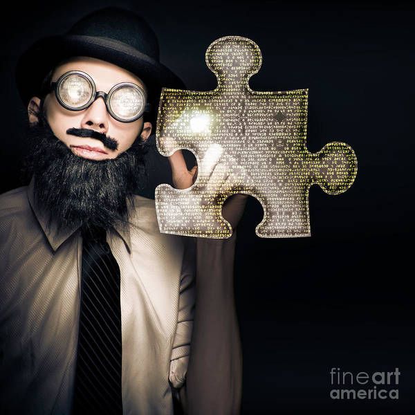 Businessman Puzzle Solving With Digital Solutions Poster