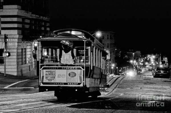 Cable Car At Night - San Francisco Poster