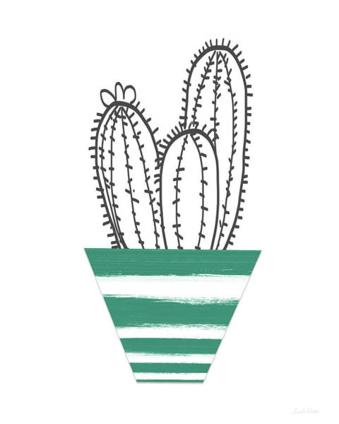 Cactus In A Green Pot- Art By Linda Woods Poster