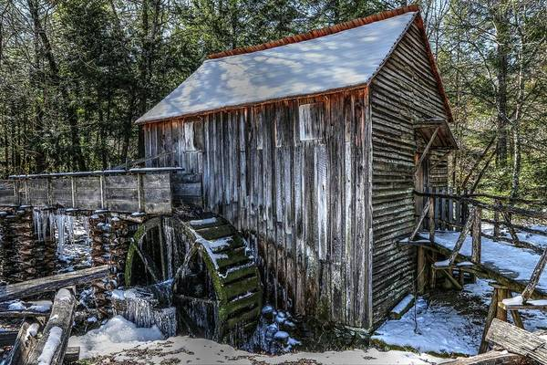Cades Cove Grist Mill In Winter Poster