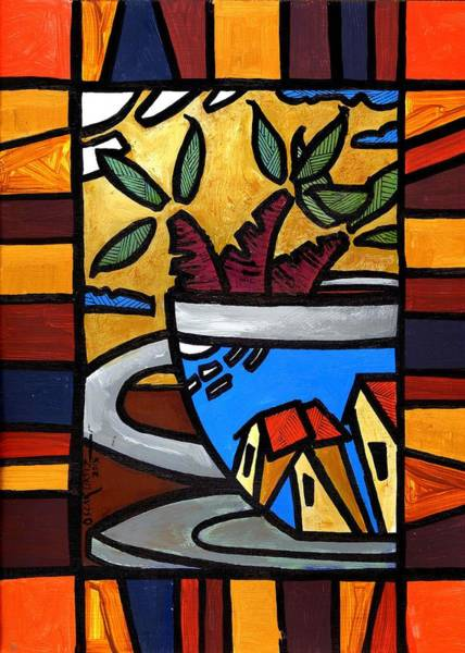 Poster featuring the painting Cafe Caribe  by Oscar Ortiz