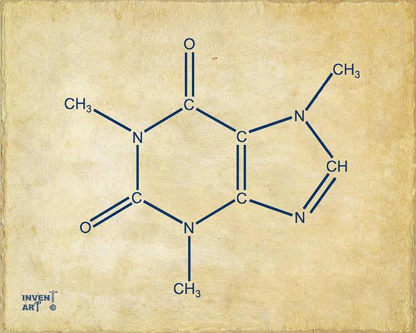 Caffeine Molecular Structure Vintage Poster
