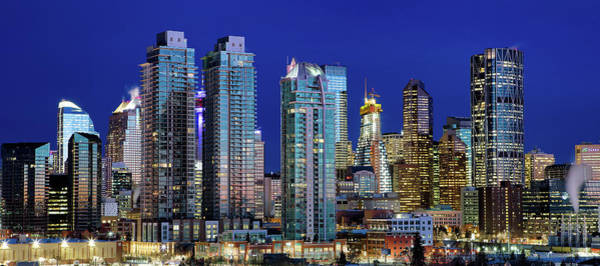 Poster featuring the photograph Calgary's Blue Hour by David Buhler