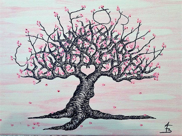 Poster featuring the drawing California Cherry Blossom Love Tree by Aaron Bombalicki