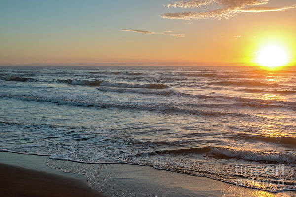 Calm Water Over Wet Sand During Sunrise Poster