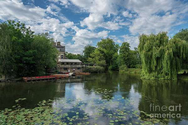 Cambridge Mill Pond Punting Cloudscape Poster