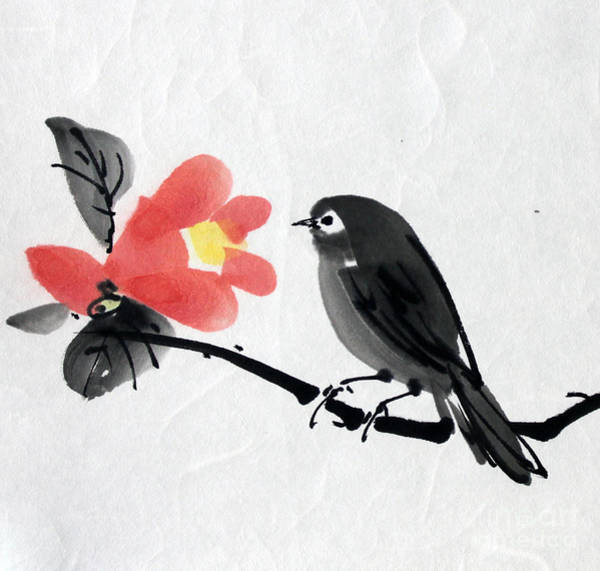 Camellia And A Little Bird Poster