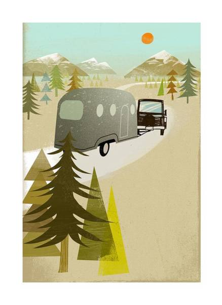 Camper Driving Into The Mountains Poster
