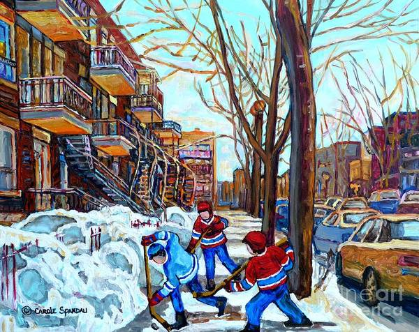 Canadian Art Street Hockey Game Verdun Montreal Memories Winter City Scene Paintings Carole Spandau Poster