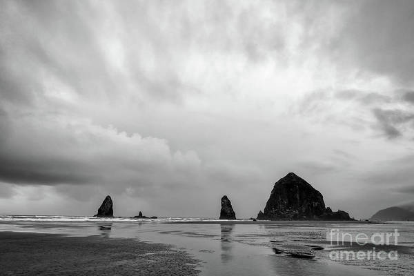 Cannon Beach In Black And White Poster