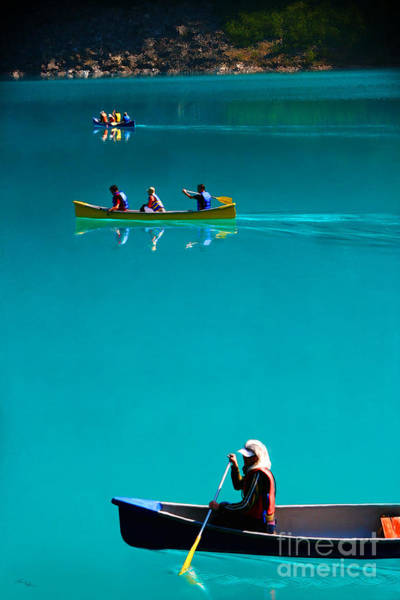 Canoeing On Glaciel Waters Poster