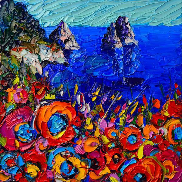 Capri Faraglioni Italy Colors Modern Impressionist Palette Knife Oil Painting By Ana Maria Edulescu  Poster