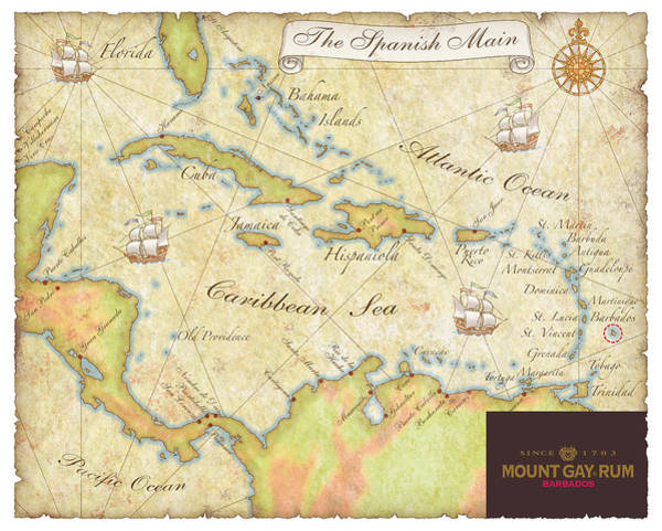 Caribbean Map II Poster