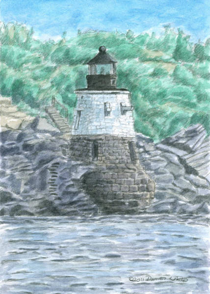 Poster featuring the painting Castle Hill Lighthouse by Dominic White