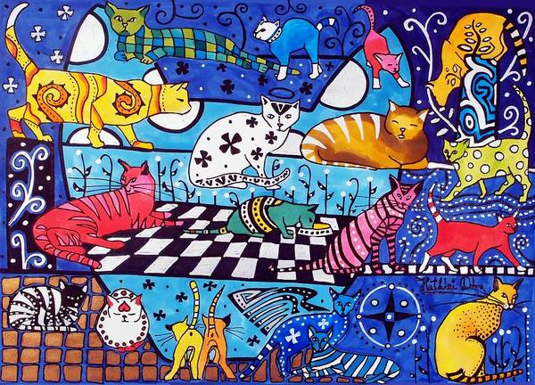 Cat Cocktail - Cat Art By Dora Hathazi Mendes Poster