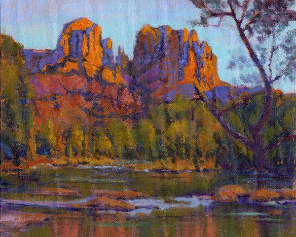 Poster featuring the painting Cathedral Rock 2 - Study by Konnie Kim