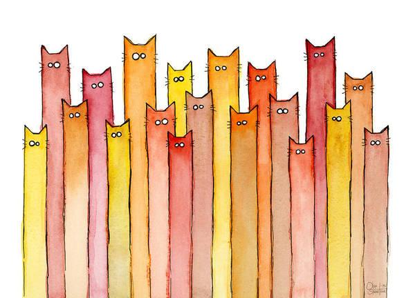 Cats Autumn Colors Poster