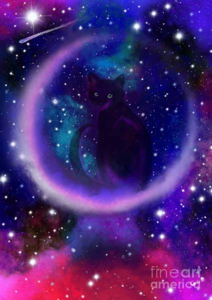 Celestial Crescent Moon Cat  Poster