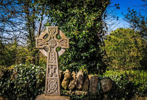 Celtic Knots Decorate A Celtic Cross Poster