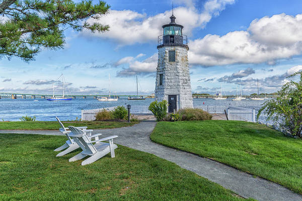 Chairs At Newport Harbor Lighthouse Poster