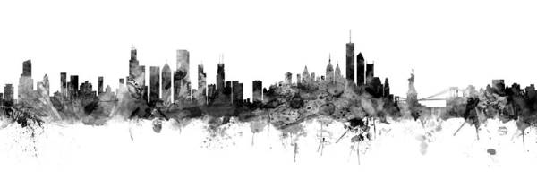 Chicago And New York City Skylines Mashup Poster