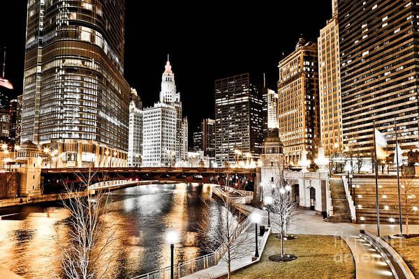 Chicago At Night At Wabash Avenue Bridge Poster