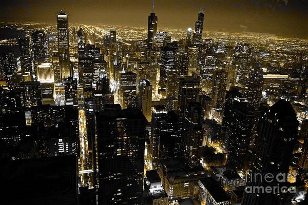 Chicago Black And Yellow Skyline Poster