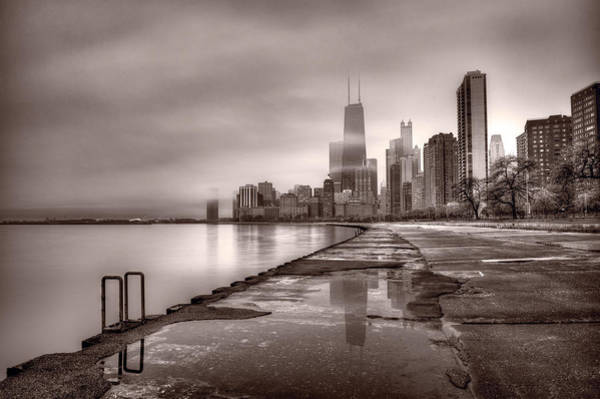 Chicago Foggy Lakefront Bw Poster