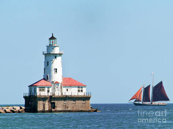 Chicago Harbor Lighthouse And A Tall Ship Poster