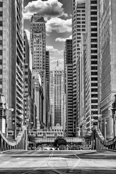 Chicago Lasalle Street Black And White Poster
