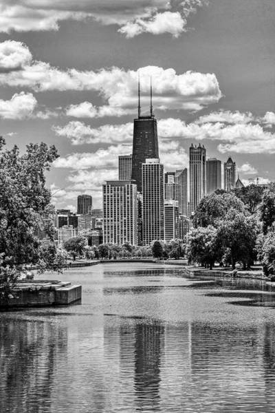 Chicago Lincoln Park Lagoon Black And White Poster