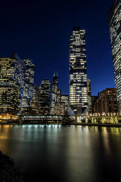 Chicago River And Skyline At Dusk  Poster