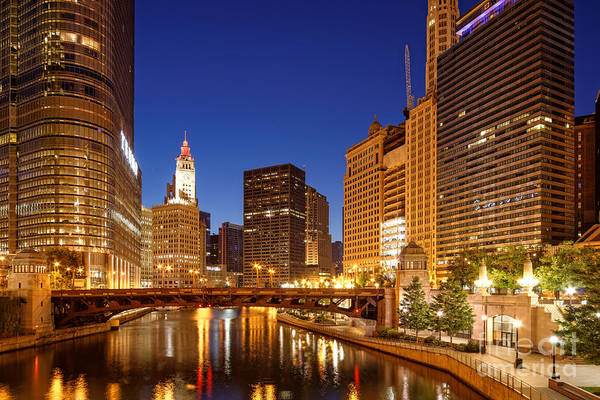 Chicago River Trump Tower And Wrigley Building At Dawn - Chicago Illinois Poster