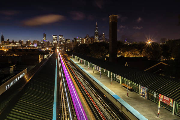 Chicago Skyline And Train Lights Poster