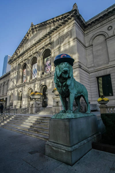 Chicago's Art Institute With Cubs Hat Poster