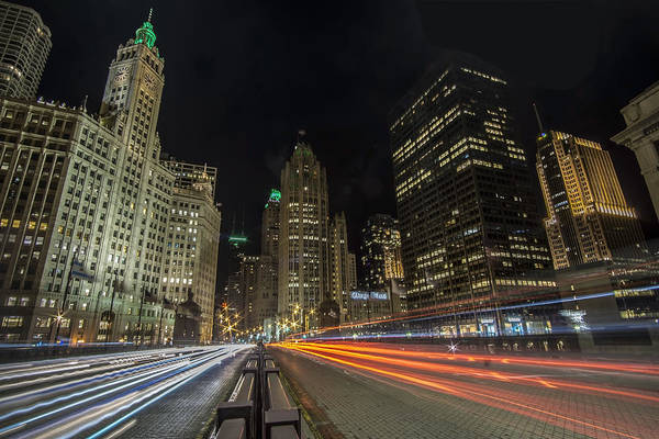 Chicago's Mag Mile Night Streaks Poster