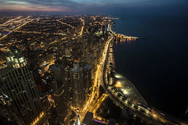 Chicago's North Side From Above At Night  Poster