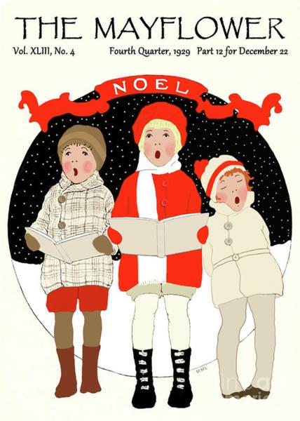 Children Caroling At Christmas Poster
